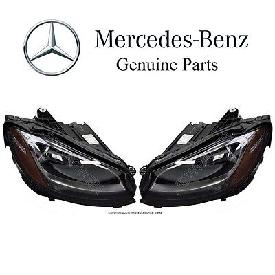 For Mercedes W205 C205 C-Class Pair Set of 2 Halogen Headlamp Assemblies OES