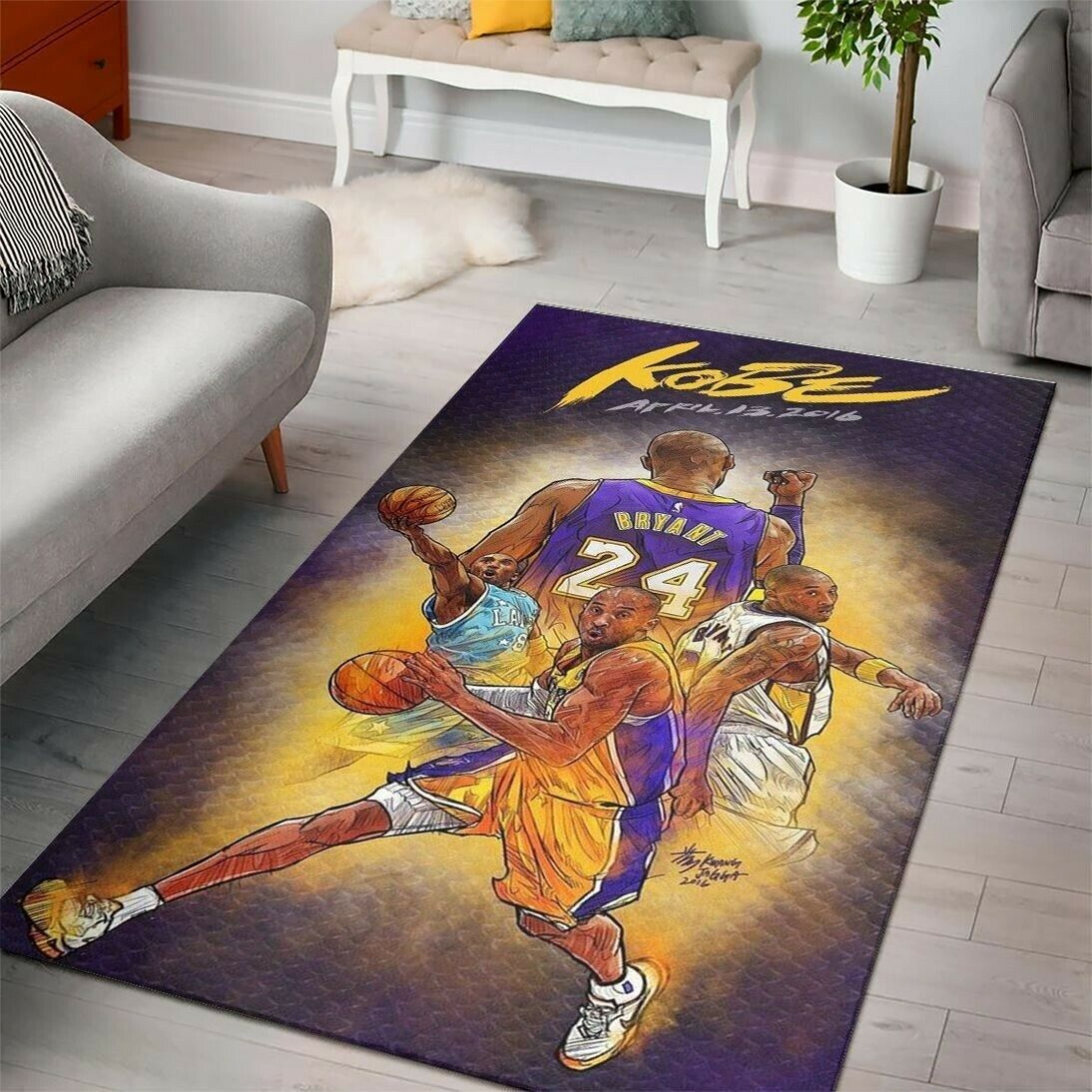 Los Angeles Lakers NBA Sport Collection Area Rugs Living Roo