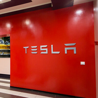 Tesla Letters Sign Garage Brushed Silver Aluminum Gift 4 Ft