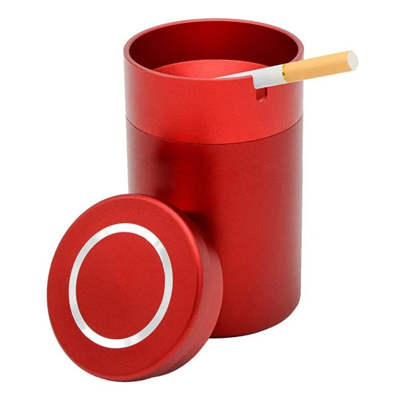 """Nostafy Alloy Aluminum Ashtray Car Cup Holder Cigarette """"Red"""" Tall SKID/7"""