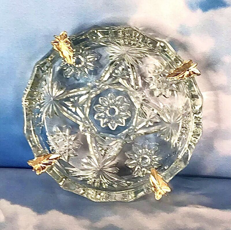 Vintage Ashtray Anchor Hocking EAPC Clear Glass Gold Metal Leaves Star Pattern