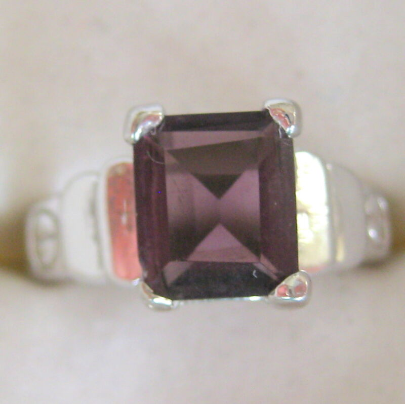 ESTATE BOLD RHODIUM OVER STERLING SILVER EMERALD CUT AMETHYST RING HAND MADE