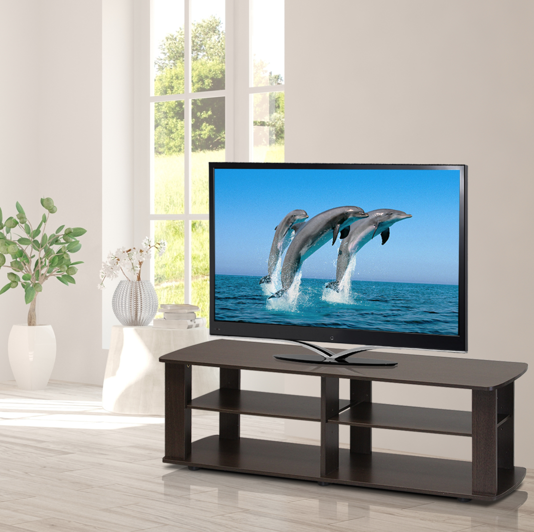 Wood TV Entertainment Stand for Flat Screen LED Universal Lo