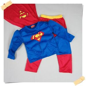 BNWT Muscle Batman Robin Superman Spiderman Fancy Dress Boys Outfit Costume 2-7y