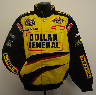 Dollar General Large Nascar Jacket Cotton Twill New Cotton Twill Stitch Busch