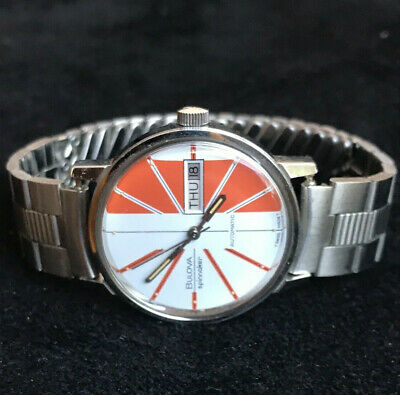 1972 Bulova Spinnaker Automatic Watch Orange/White Day Date Swiss