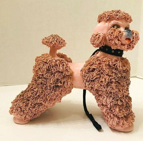 Vintage ceramic pink spaghetti poodle Large with rhinestone collar & leash