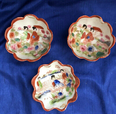 Vintage Hand Painted Geisha in the Garden Japan Porcelain 4 Footed Nut Bowl