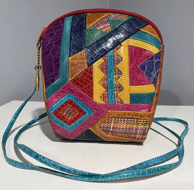 Vintage Womens Sharif 80s Snake Skin Leather Wicker Patchwork Crossbody Purse