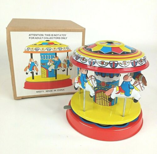 Four Ponies TIN LITHO CAROUSEL. Wind Up Lever. New in Box.
