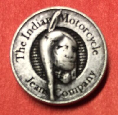 """INDIAN MOTORCYCLE """"JEANS COMPANY BRAVE"""" PIN ~ 3/4"""" ~ PINCH CLIP"""