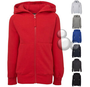 Kids-Zip-Hoodie-Jacket-Fleece-Size-6-8-10-12-14-School-Jumper-Windcheater-New