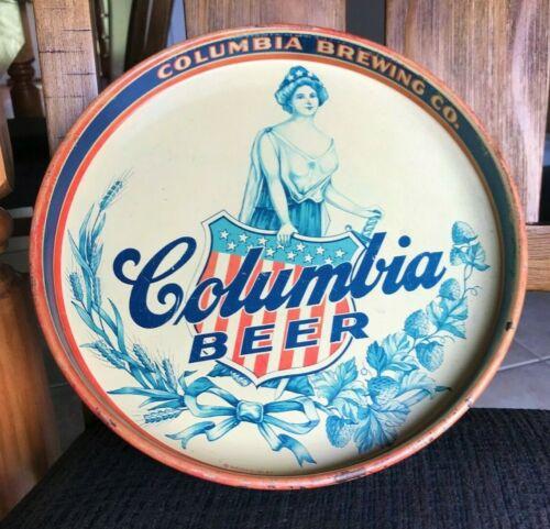VINTAGE COLUMBIA BEER LADY LIBERTY TRAY COLUMBIA BREWING CO SHENANDOAH PA