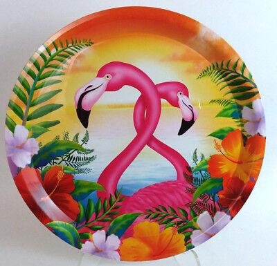 Pink Flamingo Hibiscus Serving Waiter Tray Round 14 inch Diameter Plastic (Plastic Hibiscus Tray)
