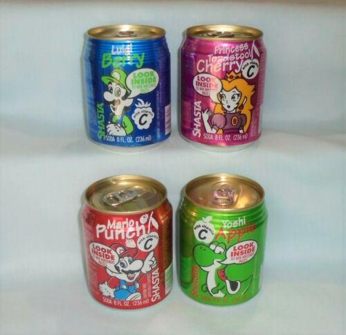 Nintendo Super Mario Bros Shasta 8 oz Soda Can Set 1993 Yoshi Luigi Princess