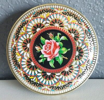 Daher Round Black Gold Raised Enamel Rose Flower Floral Tin Made in Engand