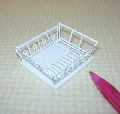 Miniature WHITE Metal Dish Drainer w/Foam MAT for DOLLHOUSE Kitchen 1/12 Scale