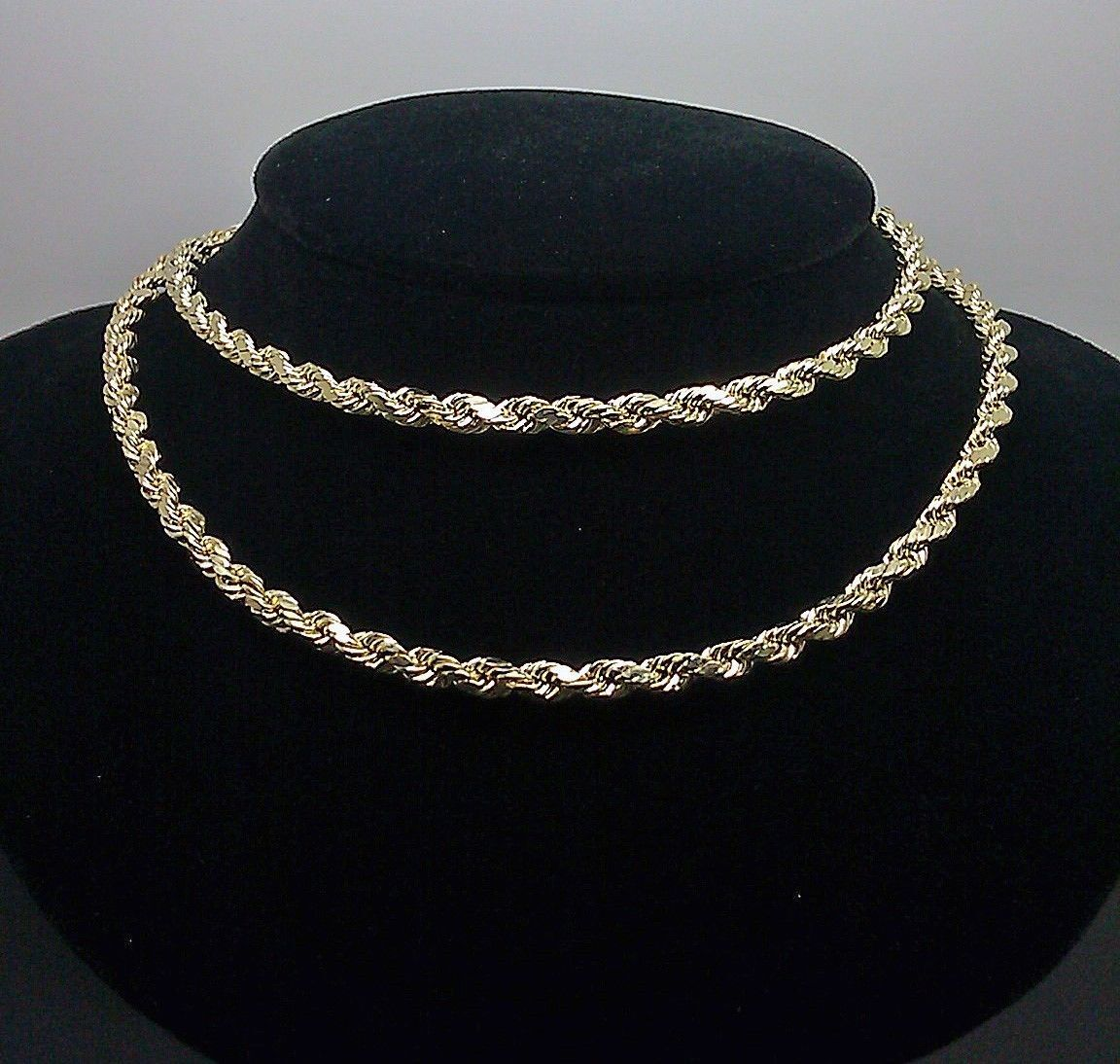 10k Gold Rope Chain 2 - 8 mm 16 Inch-30 Inch men women Necklace Diamond cut REAL 1