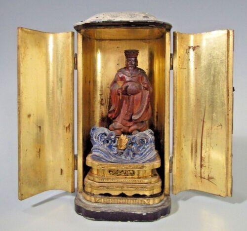 Japan Japanese Gilt Polychrome Wood Buddhist Altar in  Zushi case ca. 19-20th c