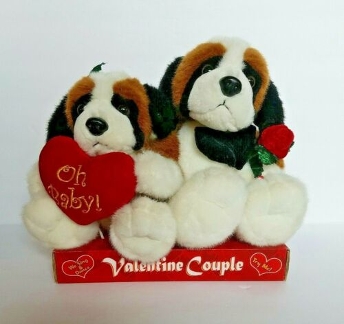 Kids Of America Valentine Dog Plush Couple Plays I Got You Babe Moves to Music