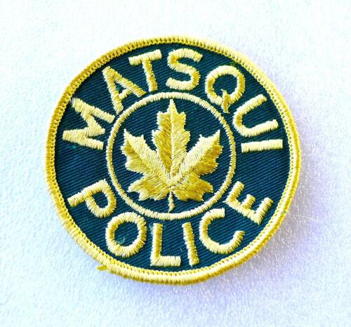 Obsolete Police Patch - MATSQUI - British Columbia Canada - PERFECT LN