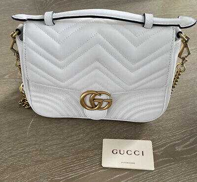 GUCCI GG Marmont Mini Top Handle Bag Shoulder Bag White