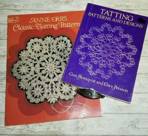 BoyeTatting Shuttle and 2 Books Patterns and Designs Classic Tatting Patterns
