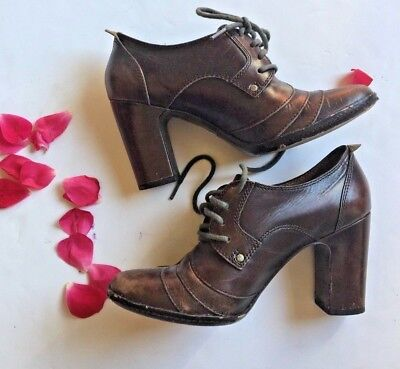 Frye Adrienne Oxford Womens Sz 7.5 Brown Leather High Heel Laced Oxford Pumps