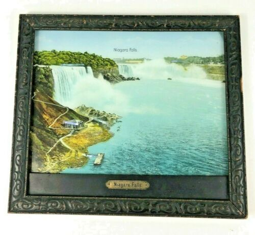 Antique Niagara Falls Framed Print w/ Mother Of Pearl Accents Made In Germany