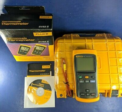 Brand New Fluke 51 Ii Thermocouple Thermometer Box Screen Protectorhard Case