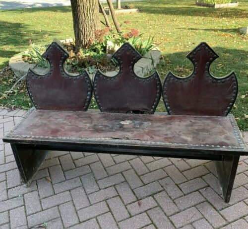 Vintage Wood Wooden Gothic Style Bench