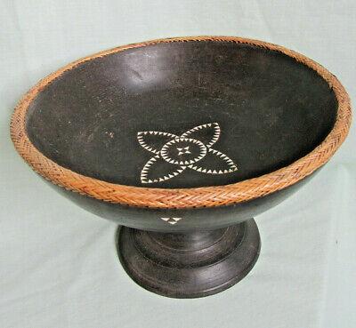 Rattan Braided Wood Pedestal Bowl; Mother of Pearl Inlay; Borneo~Dayak? 20thC