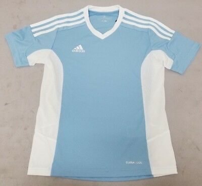 4e96a3d2f Adidas Performance Youth Light Blue Jersey Climcool 100% Polyester Size  Small