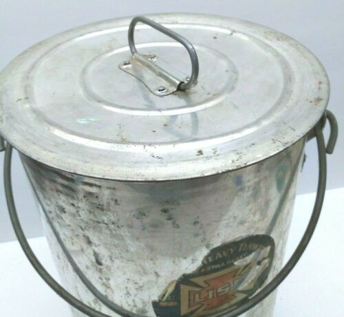 VINTAGE LISK LARGE METAL TIN PAIL CONTAINER WITH LID