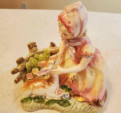 """Vintage Arnart 7"""" Figurine Girl with Deer Fawn Flowers"""