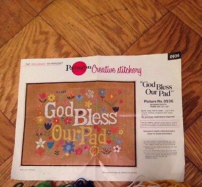 Instructions for Vintage 70's Paragon Needlecraft Kit God Bless Our Pad #0936