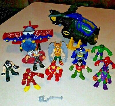 IMAGINEXT DC SUPER Heroes 10 FIGURES, batman helicopter and spiderman plane EUC