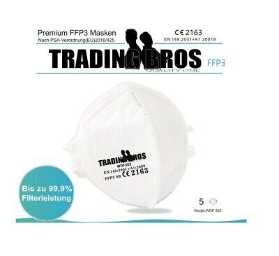 5x Premium FFP3 Maske o Ventil Halbmaske Atemschutzmaske Mundschutz Kopfschlaufe