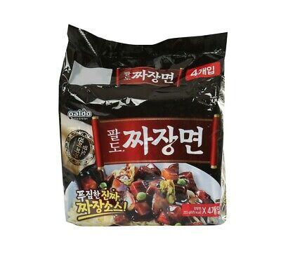 Korean Instant Black Bean Sauce Noodle PALDO JJAJANGMYUN Ramen Ramyun 4pack Set