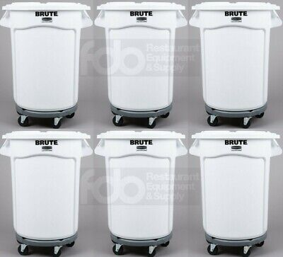 6 Brute Ingredient 32 Gallon White Bin Trash Can Lid Dolly Commercial Rubbermaid