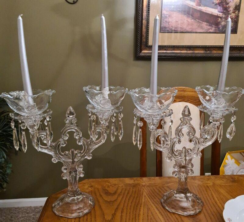 2 Cambridge Glass Crystal  Keyhole 2 Lite Candleholder Candelabra ULTRA RARE!!!