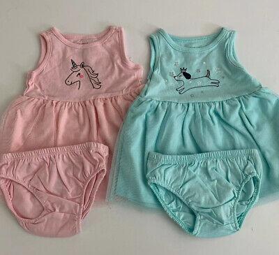 Carters Girls Set of 2 Tutu Dresses Pink Blue Size 3 6 9 12 18 Months Unicorn