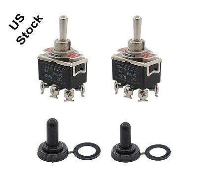 2 X Black Waterproof Boot Cap Dpdt Momentary Toggle Switch Onoffon Amp