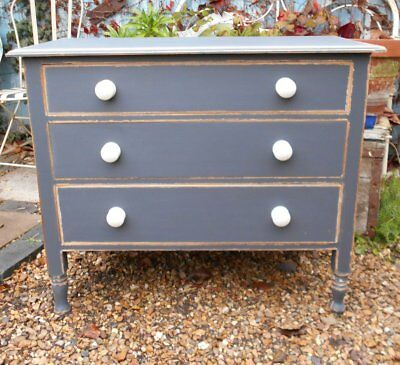 ORIGINAL  VICTORIAN  PAINTED  /  DISTRESSED  CHEST  OF  DRAWERS  SHABBY  CHIC