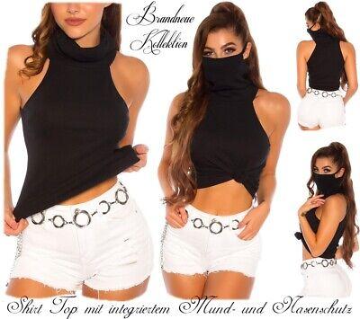 NEUHEIT 34 36 38 XS-S-M Cotton Shirt Mund-und Nasenschutz Maske Schwarz Italy