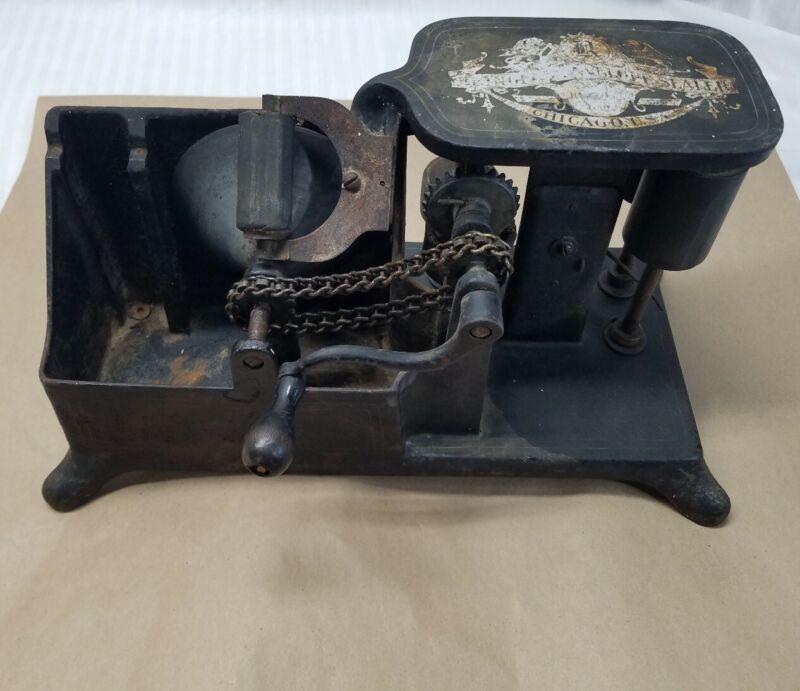 Rare Antique Cast Iron Mechanical Envelope Sealer Sealing Machine Reynolds 1910