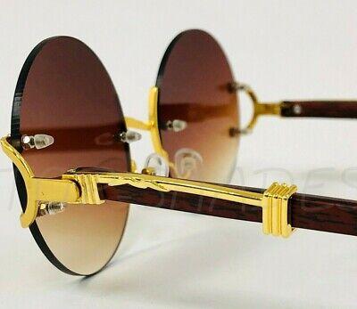 Fashion Gold Metal Brown Wood Migos Buffs Rap Hip-hop Shades Round (Black Wood Sunglasses)