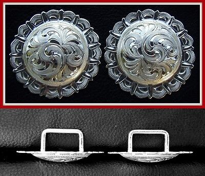 """2 - 2"""" Silver Hand Engraved Pico Conchos with 3/4"""" Loop Back"""