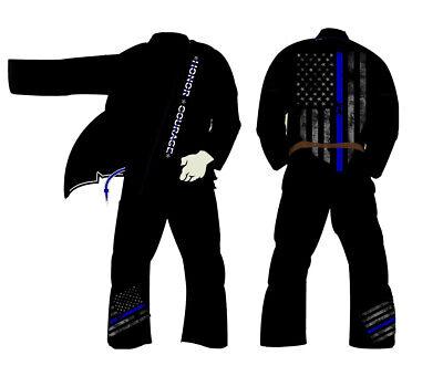 Thin Blue Jiu Jitsu Gi A2 Jiujitsu Gi Kimono Uniform New Pearl Weave 440 PreShru
