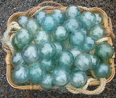 "Japanese GLASS Fishing FLOATS 3-3.5"" LOT-9 Round Net Buoy BALLS Authentic Vntg"